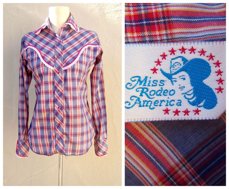 Women's western shirt / frilly lace plaid shirt / Miss Rodeo America / 5 6 xsmall small by dahlilafound on Etsy