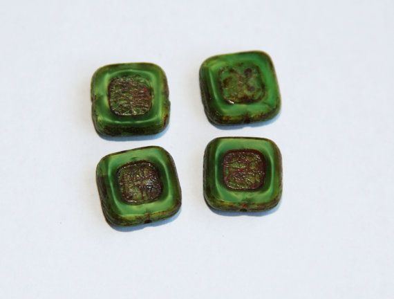 Square Czech Glass Beads Genuine Picasso by BohemianSupplyCo