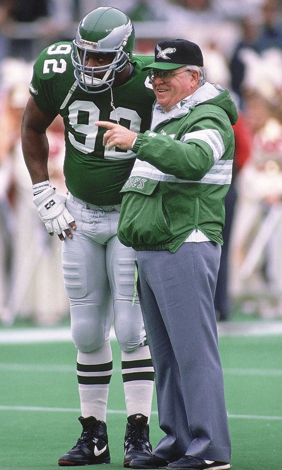 Reggie White / Buddy Ryan: Great photo of two architects of the Eagles defense of early 90s.