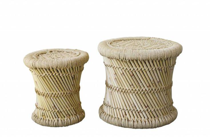Set de 2 tabourets en bambou et corde – Ø40xH40cm – Bloomingville