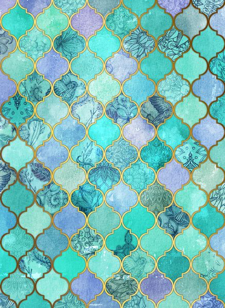 Cool Jade & Icy Mint Decorative Moroccan Tile Pattern Art Print by micklyn. Would prefer to see this as a fabric or a very small accent of tile.