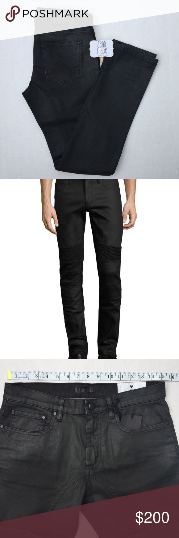 30x33 Belstaff Eastham Slim Fit Moto Jeans Black Belstaff Eastham Slim Fit Moto Jeans Black. Retail:$350  This pair of black Eastham jeans been made in Italy from hard-wearing stretch denim and finished with signature ribbed panels just above the knee. Available in a slim fit and low rise, the pair is sure to become a perennial wardrobe staple.     Zip & button fly • Corrugated panels on knee • 5 pockets • Made in Italy Belstaff Jeans Slim