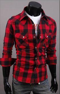 Men's Long Sleeve Button Down Plaid Shirt for fall.
