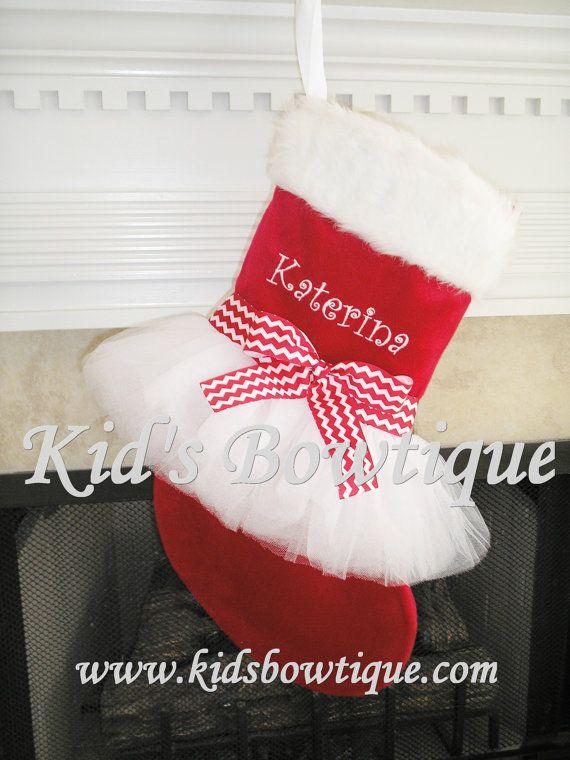 kids bowtique has designed a unique personalized tutu christmas stocking for christmas  its