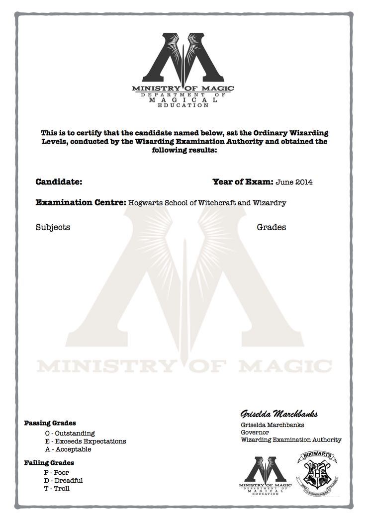 Harry Potter O.W.L's Certificate blank template!