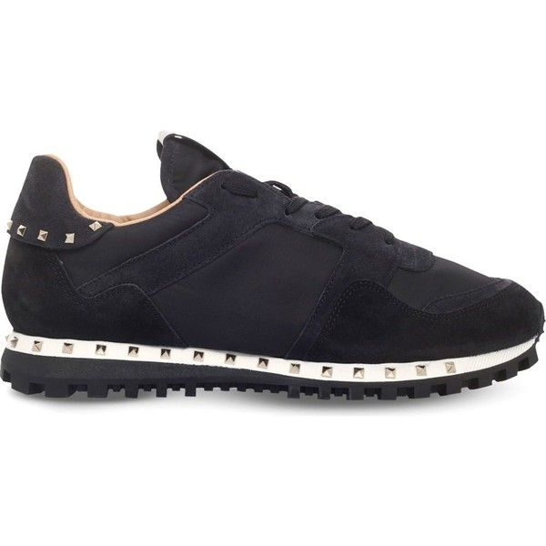 VALENTINO Studded suede trainers ($655) ❤ liked on Polyvore featuring men's fashion, men's shoes, men's sneakers, black, mens suede lace up shoes, mens black studded shoes, valentino mens sneakers, mens studded sneakers and mens suede sneakers