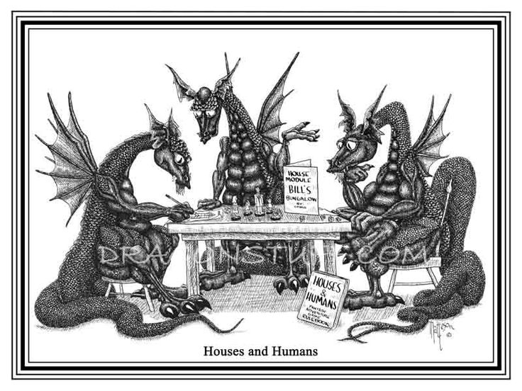 "Dragons playing a Dungeons and Dragons game called ""Houses and Humans"". $20.00, via Etsy."