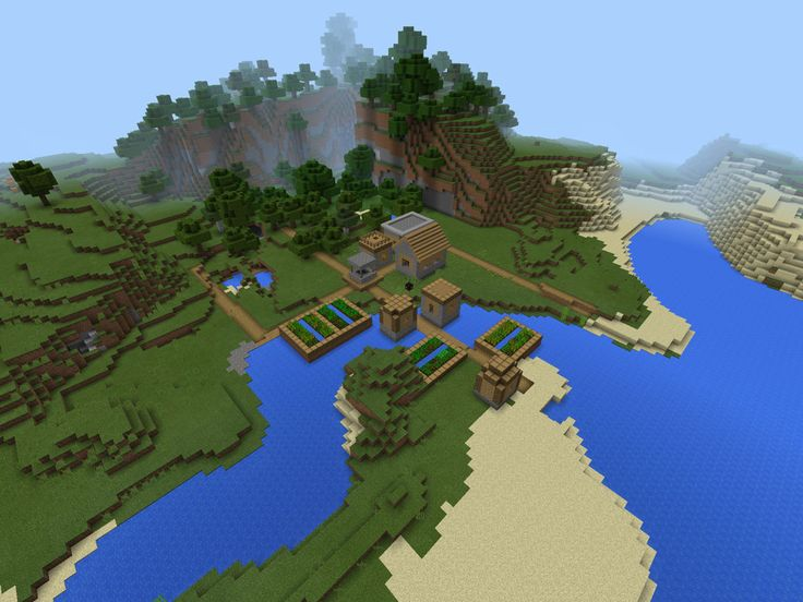 Three villages and an abandoned mineshaft all near spawn! Blacksmith loot: iron sword, iron chestplate, iron ingots. Mineshaft: Dungeons with skeleton spawner and spider spawner, with chests!