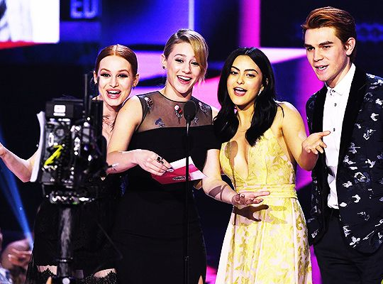 Madelaine Petsch, KJ Apa, Lili Reinhart and Camila Mendes are presenting an award at the 2017 American Music Awards held at the Microsoft Theater on Sunday (November 19) in Los Angeles.