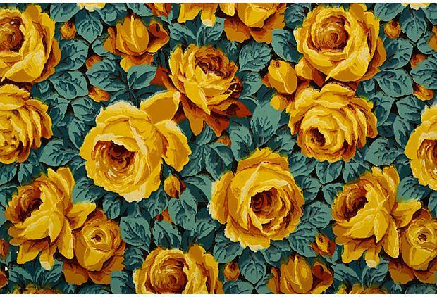 yellow : floral : French Art Deco Wallpaper Sample on OneKingsLane.com
