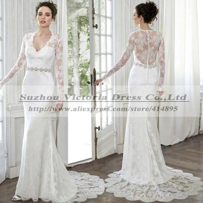 Свадебные платья Noiva эм ренда 2015 сексуальная спинки свадебные платья с длинным рукавом свадебное платье кружева в стиле кантри Vestidos де Boda