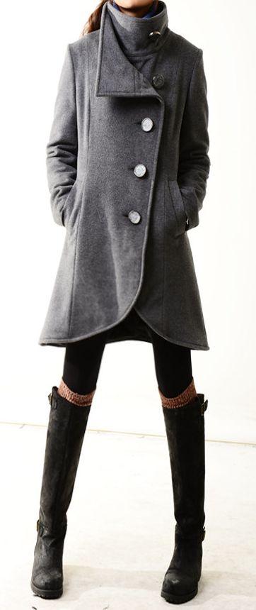 Grey cashmere coat <3 #grey #gray #gris
