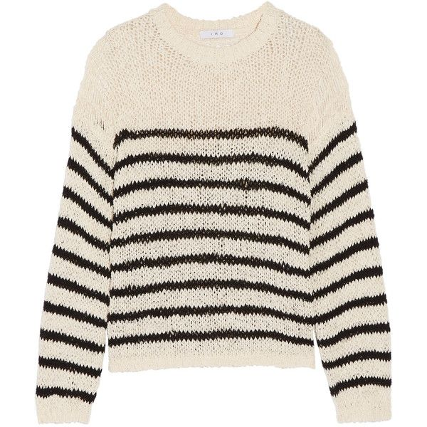 IRO Lolita striped open-knit cotton-blend sweater ($375) ❤ liked on Polyvore featuring tops, sweaters, white camisole, loose sweater, loose fitting sweaters, white cami and nautical sweater
