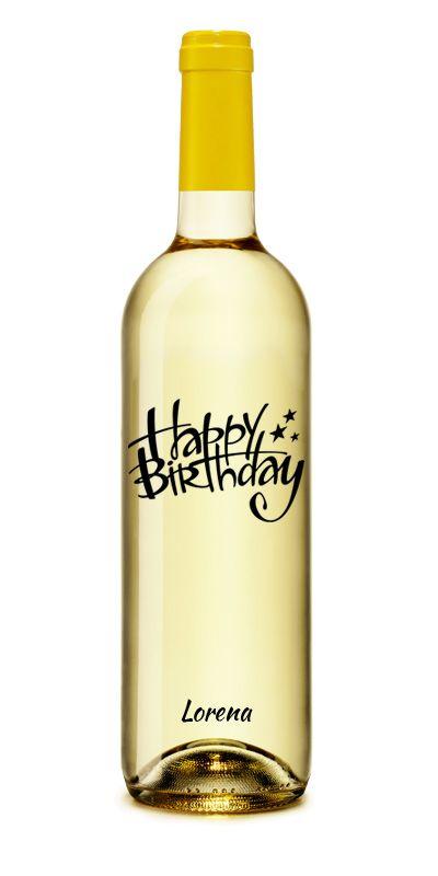 Happy Birthday Star Vino Blanco Personalizado #Cumpleaños #Regalo