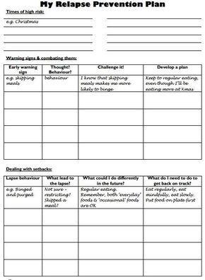 webiteback: Relapse Prevention Plan - Worksheet by lesley ...