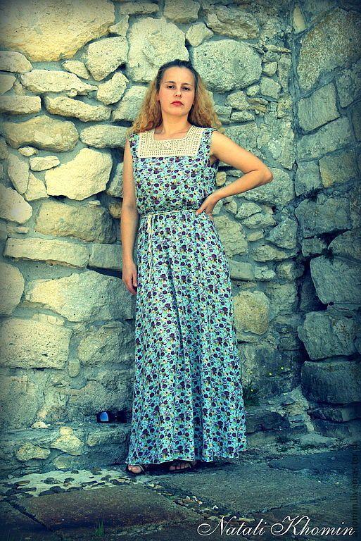 """Купить летнее платье """"Тайны древнего замка"""" - платье летнее, платье в пол, женское платье"""