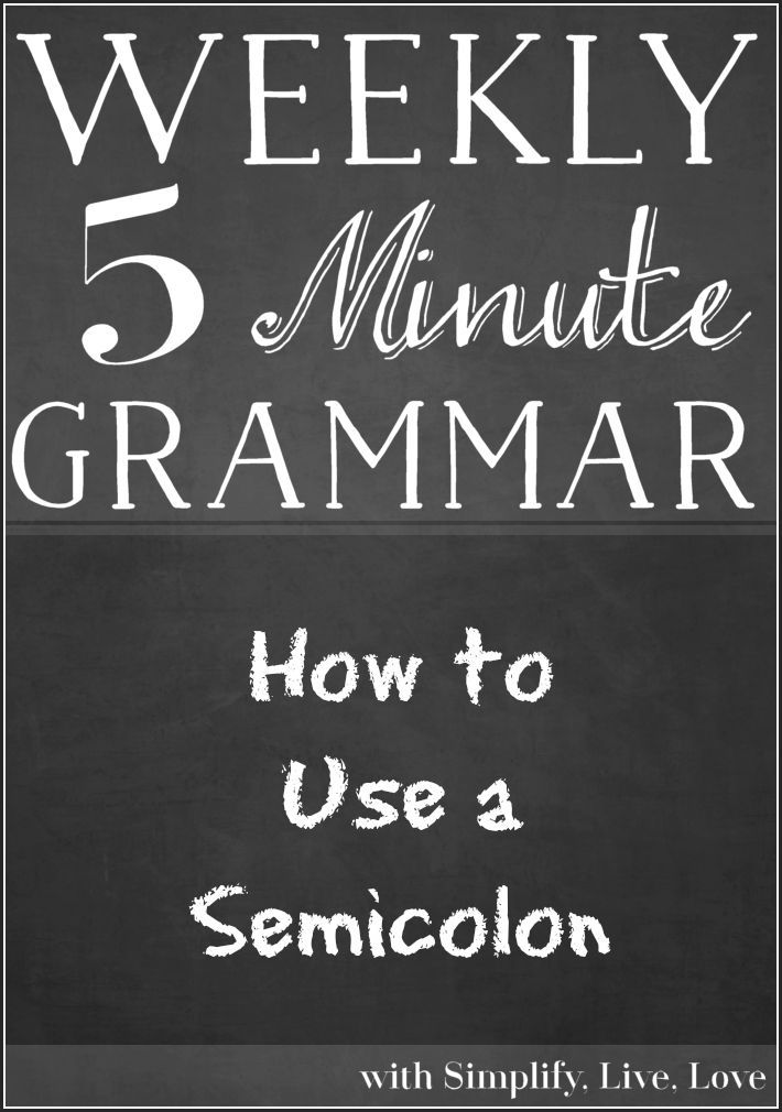 Welcome to another 5 Minute Grammar Lesson! Today's topic includes easy to follow rules so you can learn how to use a semi-colon!