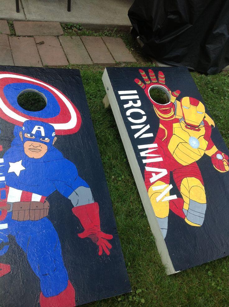Captain america and iron man cornhole designs wooden