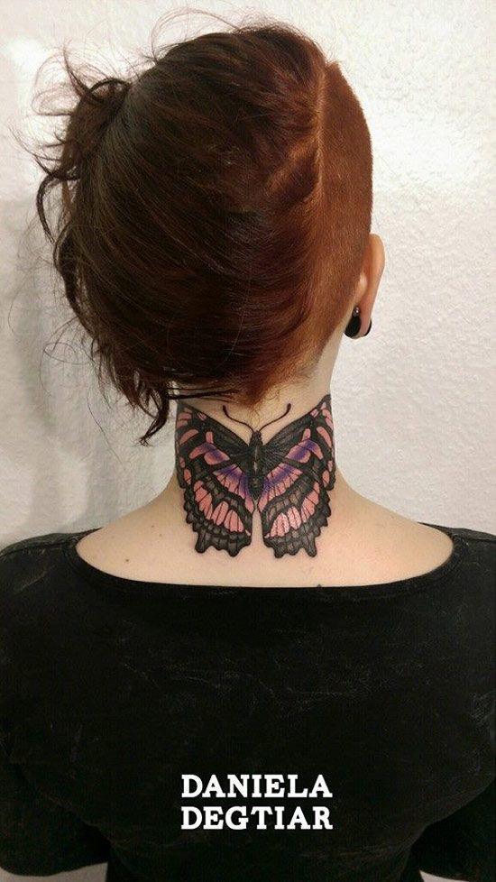 http://tattooideas247.com/butterfly-neck/ Butterfly Neck Tattoo #Butterfly…