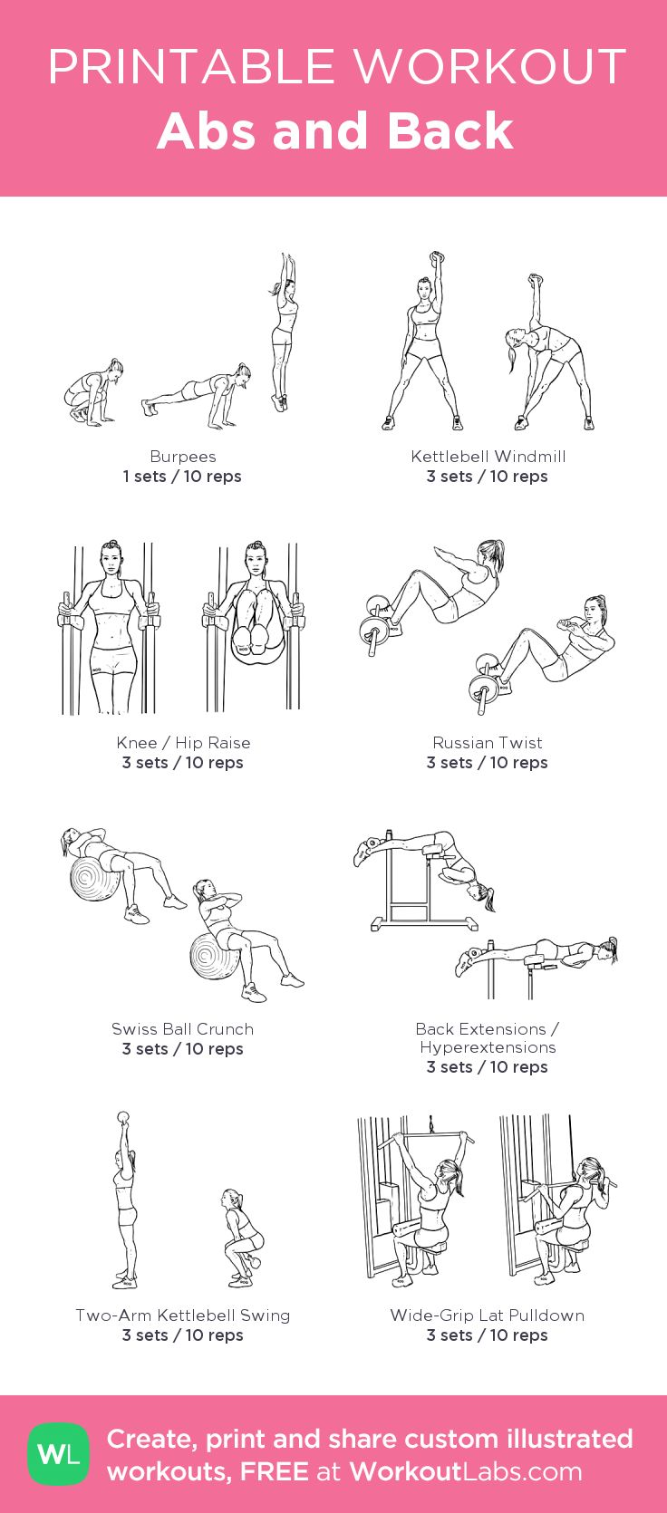Abs and Back: my custom printable workout by @WorkoutLabs #workoutlabs #customwo… – Workouts