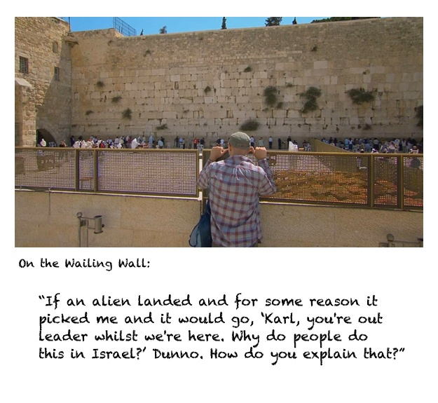 Karl watches visitors to the Wailing Wall