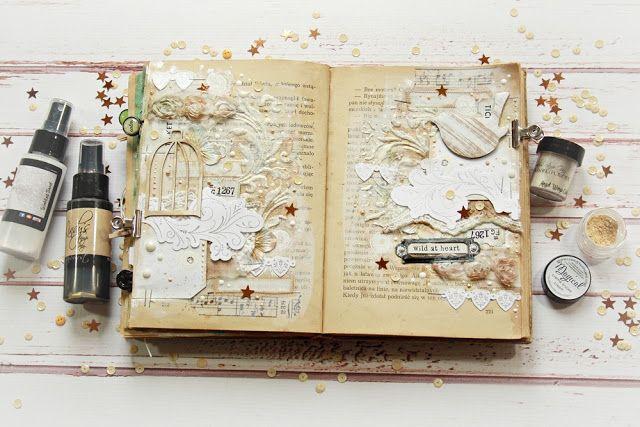 JaMajka: White gold art journal spread