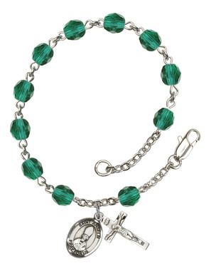 St. Anselm of Canterbury Silver-Plated Rosary Bracelet with 6mm Zircon Fire Polished beads