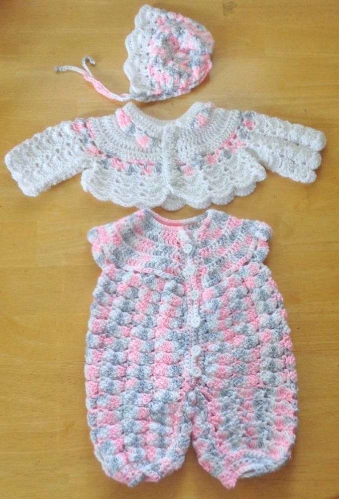 Newborn Crochet Baby Outfit Sweater Jacket, Romper & Bonnet Handmade $39.99