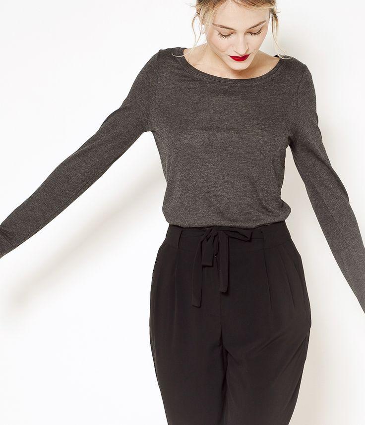 T-shirt manches longues en laine gris anthracite Camaïeu 2016
