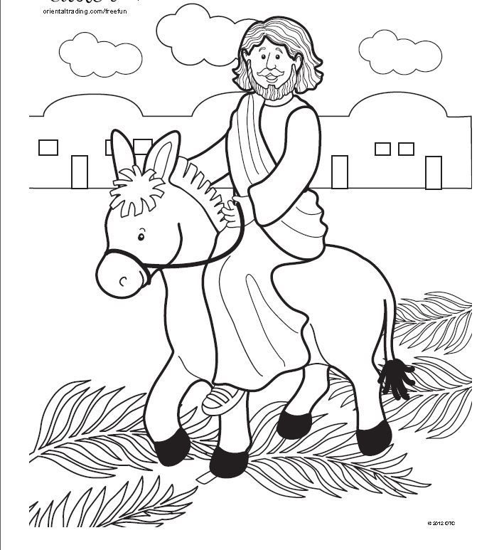 Jesus Enters Jerusalem In This Palm Sunday Coloring Page Sunday