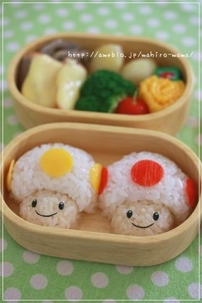 Cute Mario Mushrooms Bento Lunch|キャラ弁 #Bento #bentobox