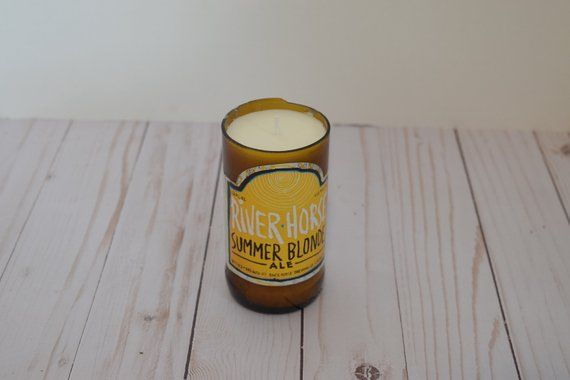 Recycled Beer Bottle Candle Riverhorse Summer Blonde Ale Soy Wax