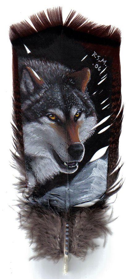 Wolf Head on Feather - Acrylic by lenzamoon.deviantart.com