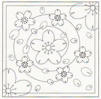 Saskura (Cherry blossom) | Sashiko: Traditional Japanese Sashiko Design & Instruction