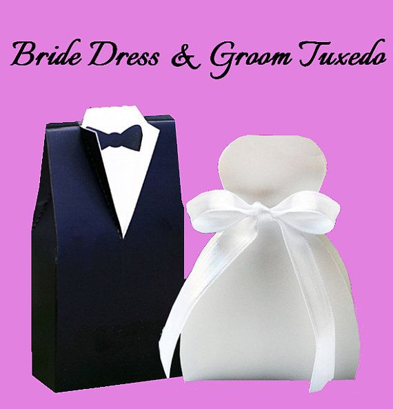 Bride Dress & Groom Tuxedo Party Favor Boxes by MartaZylaDesign, $5.00