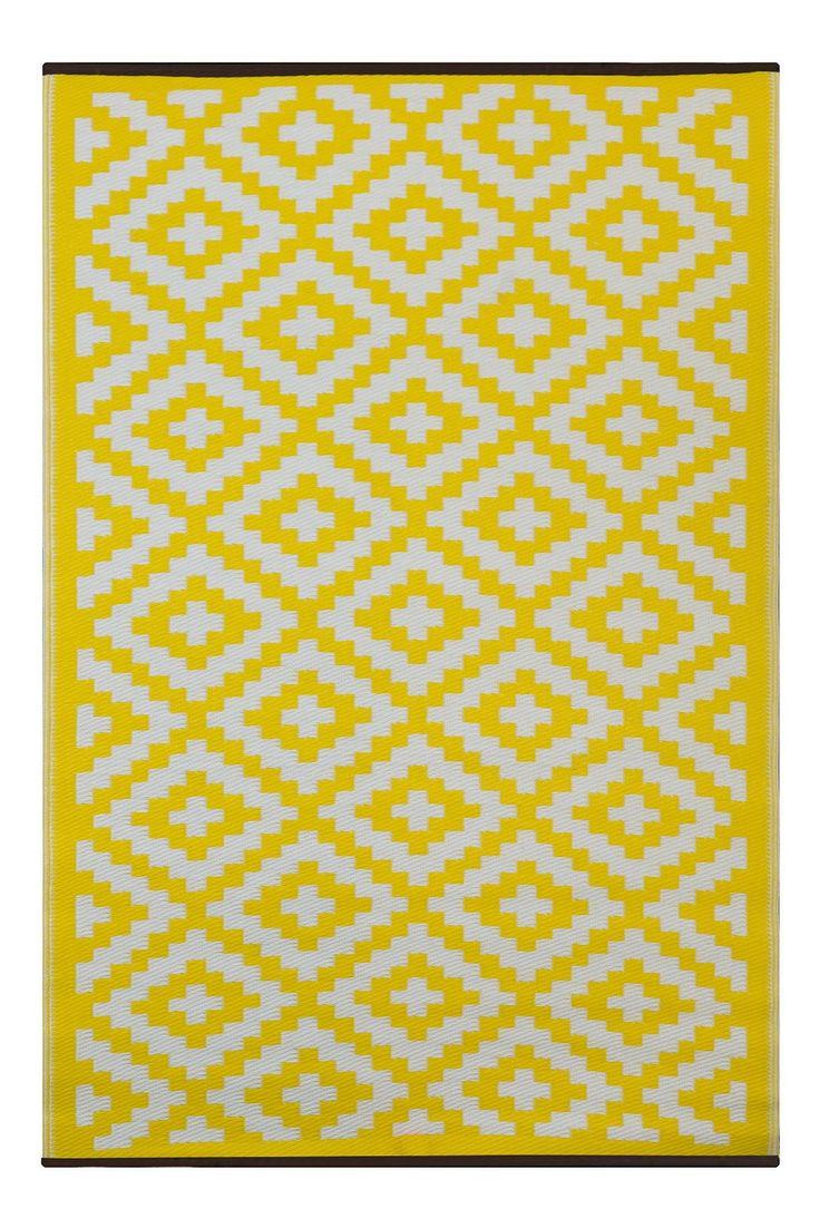 Green Decore 90 x 150 cm Nirvana Intérieur Extérieur / Léger / réversible Eco Tapis, jaune / blanc: Amazon.fr: Jardin