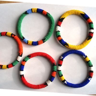 South African Traditional Beaded Round Bracelets - 4 colors