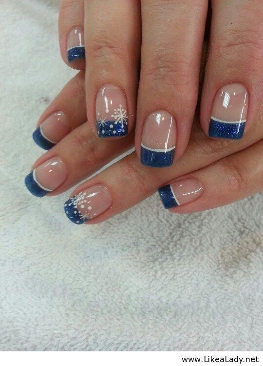 Snowflakes Christmas nail art. Blue tip with snowflakes, Winter Nail Art.