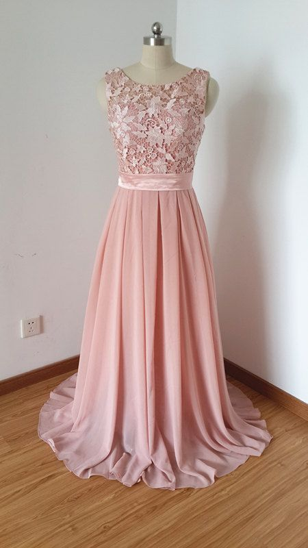 2015 Scoop Dusty Rose Lace Chiffon Long Prom Dress by DressCulture