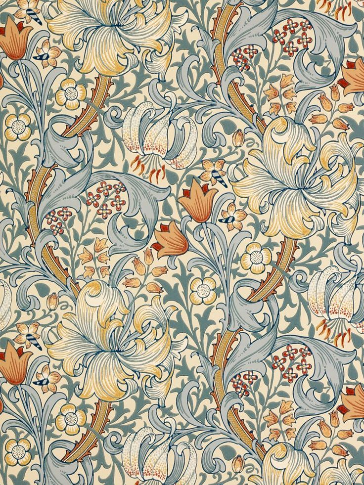 """Golden Lily"" Pattern Wallpaper. William Morris & Co. #William_Morris #Morris_and_Co #wallpaper"