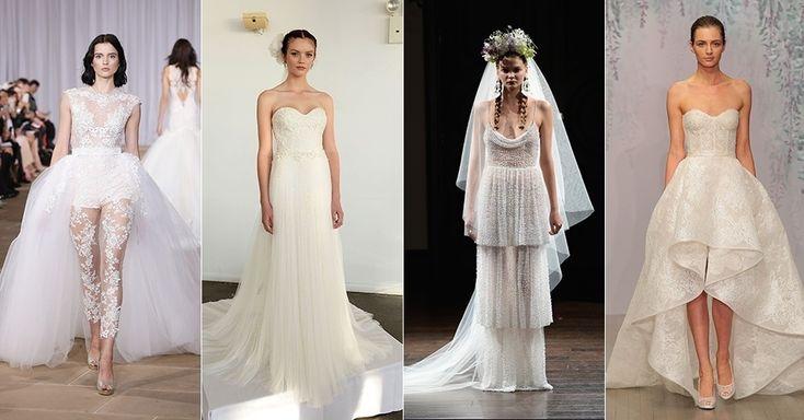 Vestidos assimétricos e decotes de coração brilham na NY Bridal; inspire-se