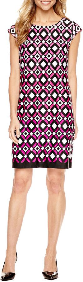LIZ CLAIBORNE Liz Claiborne Short Sleeve Shift Dress http://shopstyle.it/l/caKS