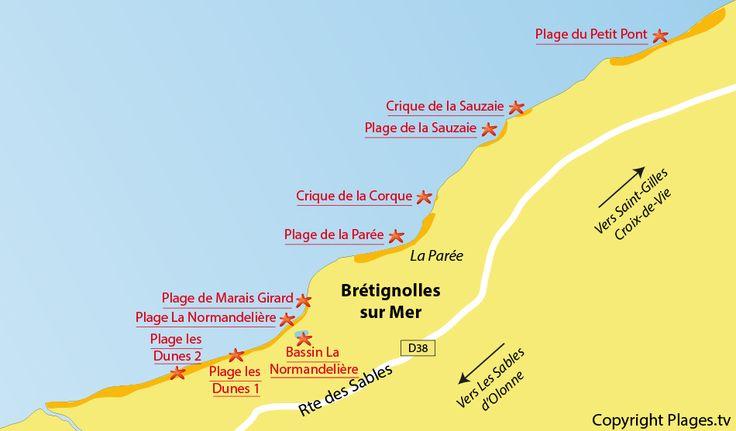 Plan des plages de Brétignolles sur Mer