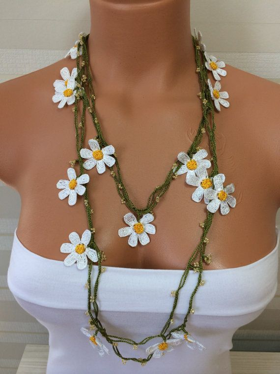 Crochet Beaded Work Strand NecklaceBeaded Handmade ,camomile necklace,long necklace,scarf