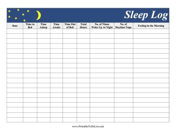 Featuring a moon and yellow stars, this sleep log records amount of time slept, naps, and restfulness. Free to download and print