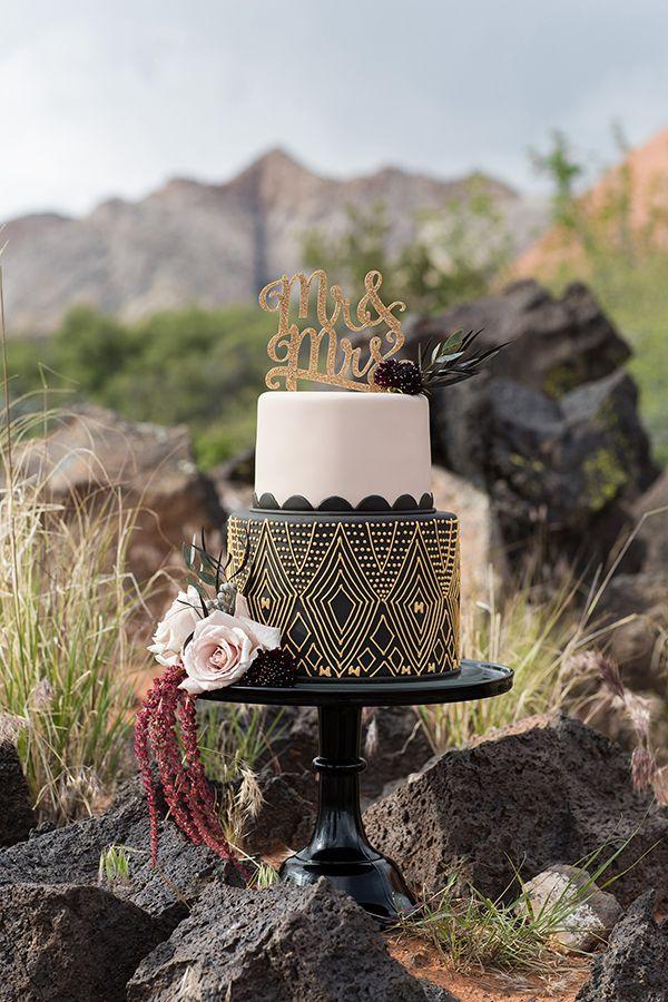 black and gold wedding cakes - photo by Tyler Rye Photography http://ruffledblog.com/elegant-african-inspired-mountain-wedding