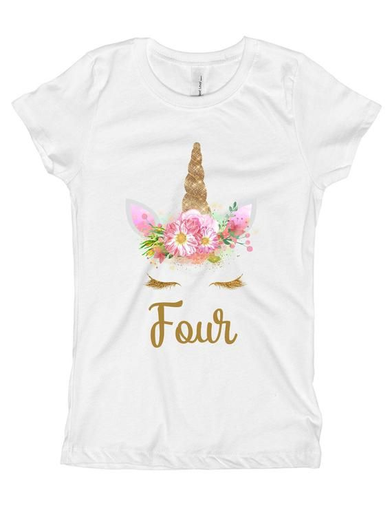 I Am 4 Unicorn Aged 4-5 Years Tshirt Outfit Girls Top Name 4th Birthday