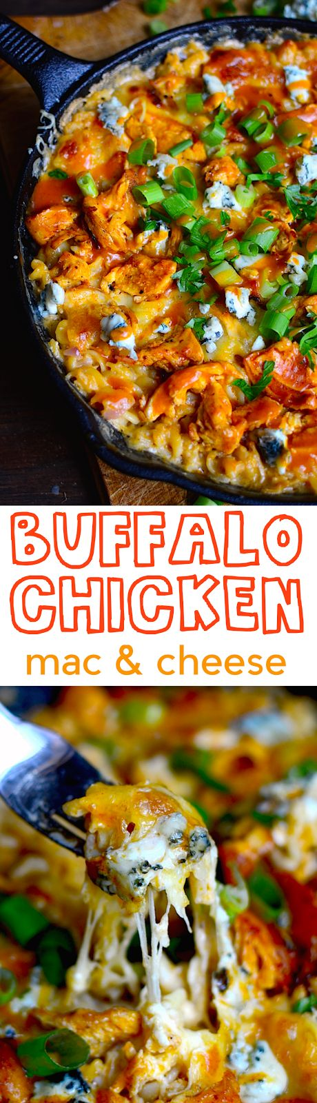 YUM! Baked buffalo chicken macaroni and cheese! Spicy, creamy, gooey, and delicious all in one.