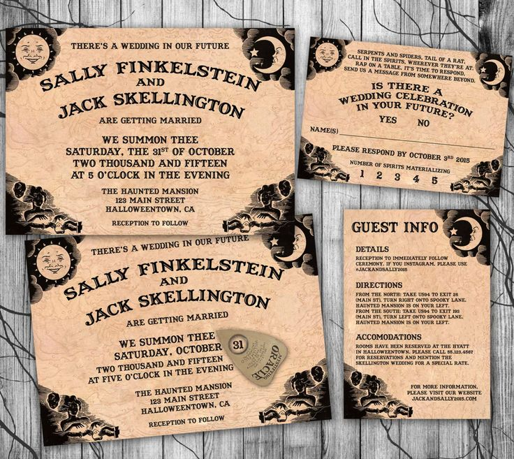 marriage invitation from bride and groom wording%0A Halloween Wedding Invitation Suite Ouija by KidsPartyPrintables