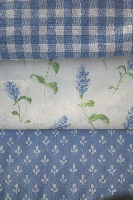 Vintage Laura Ashley Fabrics:  Gingham, Summertime, and Trefoil.